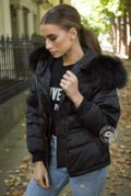 Lucie Black Down Coat - Black Fur