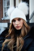 All White DOUBLE Bobble Hat