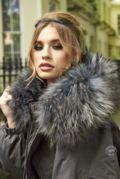 Erica Oversized Grey Parka - Grey Fur