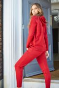 Ava Deep Red Hooded Tracksuit
