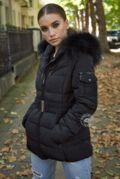 Celina Black Quilted Coat - Black Fur