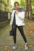 Lucie White Down Coat - Silver Fox Fur
