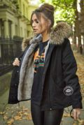 Delilah Black Parka - Natural Fur
