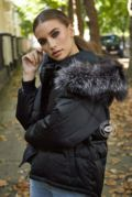 Lucie Black Down Coat - Silver Fox Fur