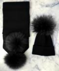 ADULT ALL Black Bobble Hat & Scarf SET