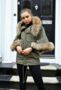 Khaki Parka With Batwing Fur Sleeves