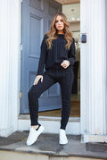 Isabella Cable Knit Black Lounge Set