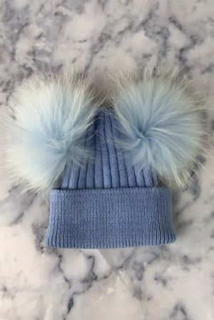 KIDS Baby Blue Double Bobble Hat