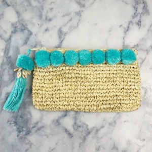 Mint Green Pom Pom Beach Clutch-Copy