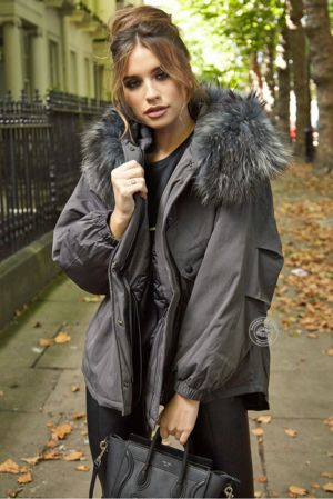 Erica Oversized Grey Parka - Grey Fur