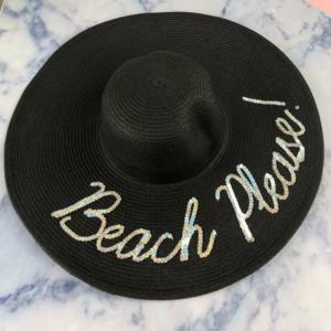Beach Please! Black Floppy Hat
