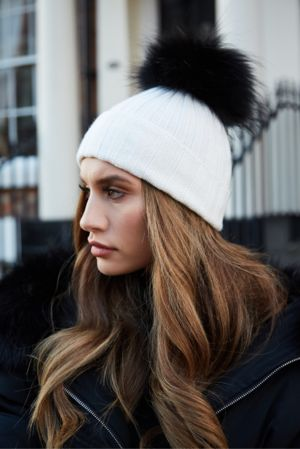 White On Black SINGLE Bobble Hat