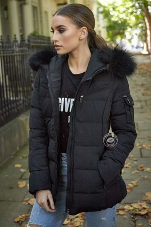Celina Black Quilted Coat - Black Fur