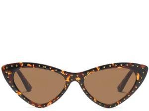 Hawaii Leopard Studded Cats Eye Sunglasses