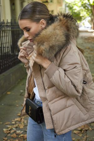 Lucie Mocha Down Coat - Natural Fur