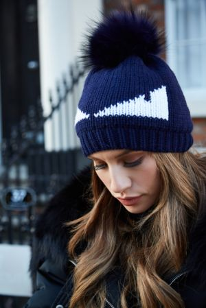 Navy Monster Bobble Hat