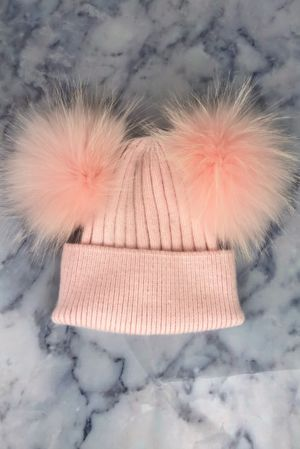 KIDS Baby Pink Double Bobble Hat