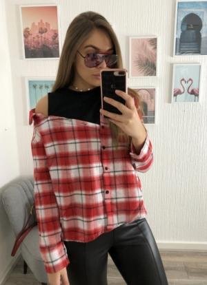Half Open Red Check Shirt