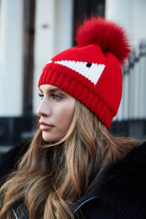 Red Monster Bobble Hat