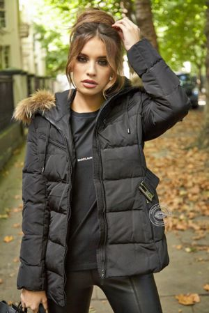 Celina Black Quilted Coat - Natural Fur