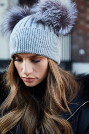 Grey with Silver Fox DOUBLE Bobble Hat