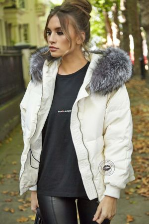 Lucie White Down Coat - Silver Fox Fur