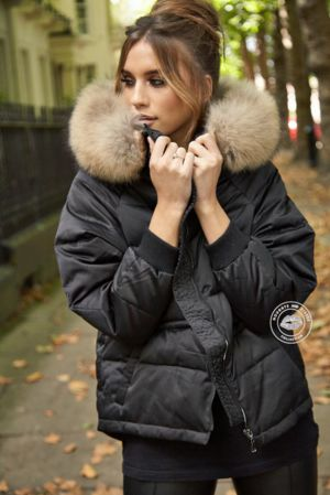 Lucie Black Down Coat - Natural Fur