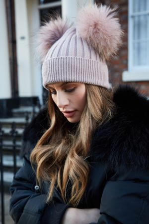 Dusky Pink DOUBLE Bobble Hat