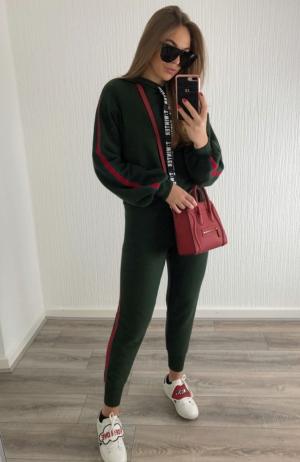 Khaki Green & Red Glitter Stripe Tracksuit