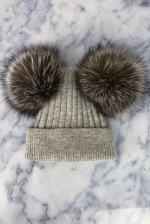 KIDS Grey with Natural Double Bobble Hat