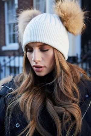 White with Natural DOUBLE Bobble Hat