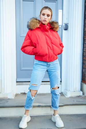Olivia Red Bomber Coat - Natural Fur