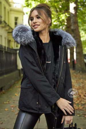 Delilah Black Parka - Silver Fox Fur