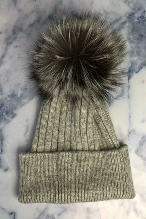 Grey With Silver Fox SINGLE Bobble Hat
