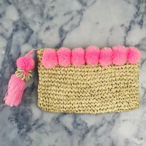 Light Pink Pom Pom Beach Clutch