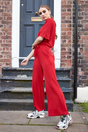 Celina Red Pleated Co-Ord Set