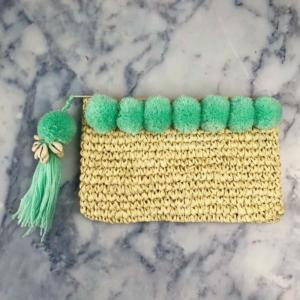 Mint Green Pom Pom Beach Clutch
