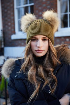 Khaki DOUBLE Bobble Hat