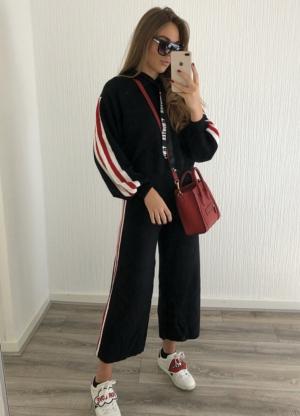 Black Glitter stripe hooded tracksuit -Copy