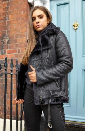 Black Biker Long Coat
