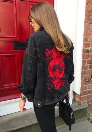 Black Denim Dragon Embroidered Jacket