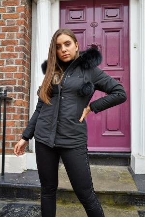 Black Coat with Black Fur Hood & Pom Poms
