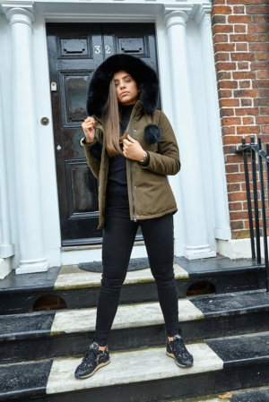 Khaki Coat with Black Fur Hood & Pom Poms