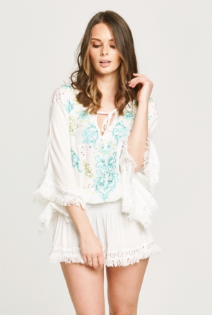 White Sequin Fray Kaftan