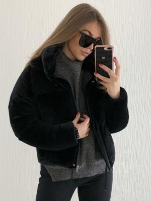 Black Velvet Oversized Puffer Coat