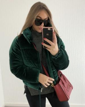 Green Velvet Oversized Puffer Coat