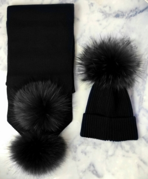 ADULT ALL Black Bobble Hat & Scarf SET
