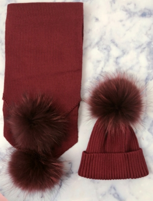 ADULT Cranberry Red Bobble Hat & Scarf SET