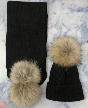 ADULT Black Bobble Hat & Scarf SET