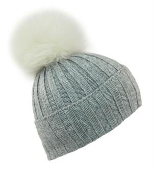 Light Grey Giant Fur Bobble Hat